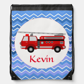 Fire truck on a chevron background drawstring bag