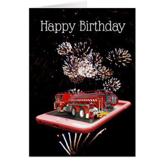 Fire Truck On Speed Dial, Birthday Card