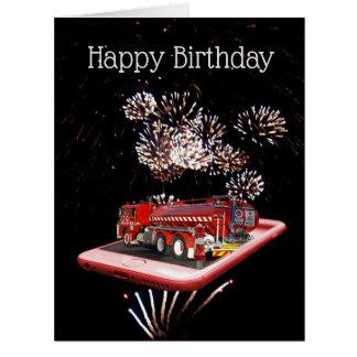 Fire Truck On Speed Dial, Jumbo Birthday Card