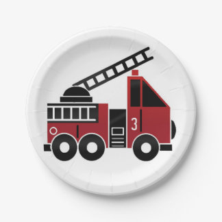 Fire truck paper plate 7 inch paper plate