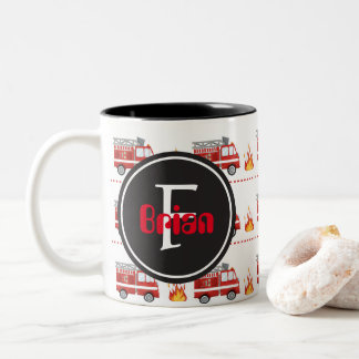 Fire truck pattern add name monogram mug