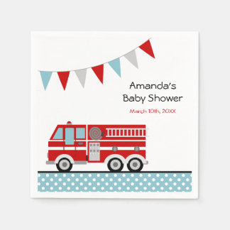 Fire Truck Polka Dot Banner Boy Baby Shower Disposable Napkins