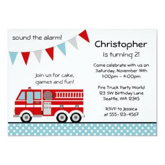 "Fire Truck Polka Dot Banner Boy Birthday Party 5"" X 7"" Invitation Card"