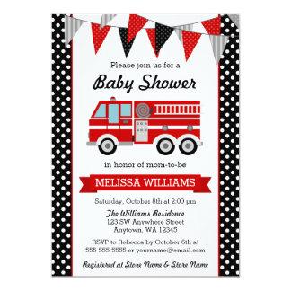 "Fire Truck Polka Dot Bunting Baby Shower 5"" X 7"" Invitation Card"