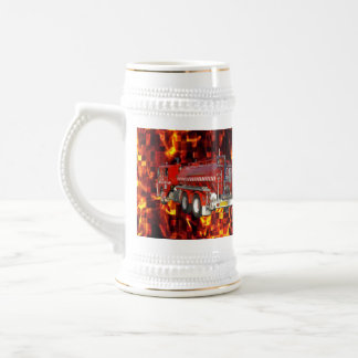 Fire Truck Polygon Graphic On Fire Mosaic, Beer Stein