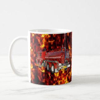 Fire Truck Polygon Graphic On Fire Mosaic, Coffee Mug