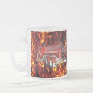Fire Truck Polygon Graphic On Fire Mosaic, Frosted Glass Coffee Mug