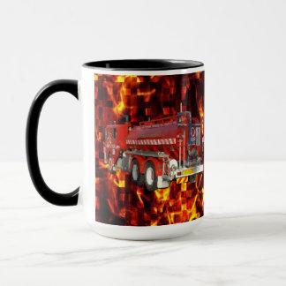 Fire Truck Polygon Graphic On Fire Mosaic, Mug