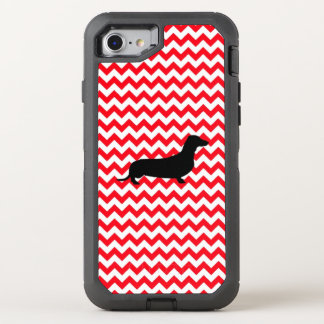 Fire Truck Red Chevron With Dachshund OtterBox Defender iPhone 8/7 Case