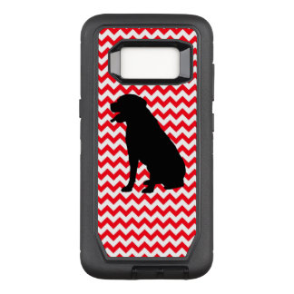 Fire Truck Red Chevron With Lab Silhouette OtterBox Defender Samsung Galaxy S8 Case