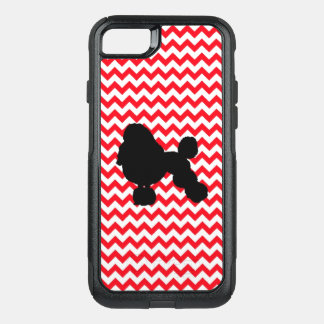 Fire Truck Red Chevron With Poodle Silhouette OtterBox Commuter iPhone 8/7 Case
