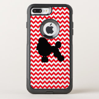 Fire Truck Red Chevron With Poodle Silhouette OtterBox Commuter iPhone 8 Plus/7 Plus Case