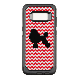 Fire Truck Red Chevron With Poodle Silhouette OtterBox Commuter Samsung Galaxy S8 Case