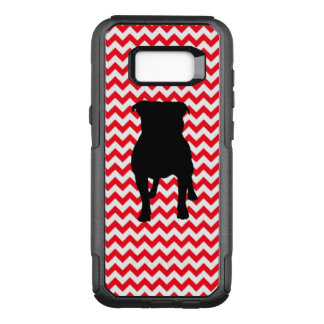 Fire Truck Red Chevron With Pug Silhouette OtterBox Commuter Samsung Galaxy S8+ Case