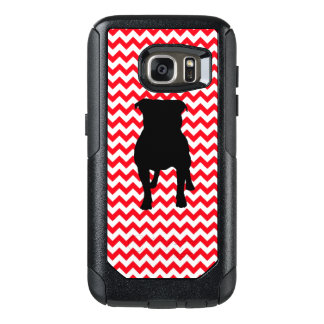 Fire Truck Red Chevron With Pug Silhouette OtterBox Samsung Galaxy S7 Case