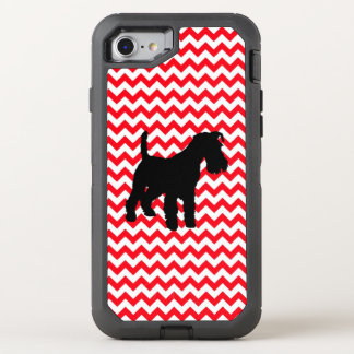 Fire Truck Red Chevron With Schnauzer OtterBox Defender iPhone 8/7 Case