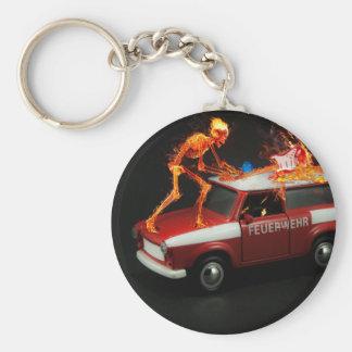Fire truck skeleton basic round button keychain