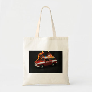 Fire truck skeleton tote bag