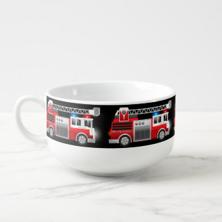 Fire truck soup bowl with handle