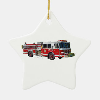 Fire_Truck_texturizer Ceramic Ornament