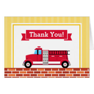 Fire Truck Thank You Card Folded Note Card