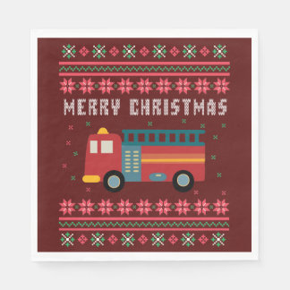 Fire Truck Ugly Christmas Sweater Paper Napkins
