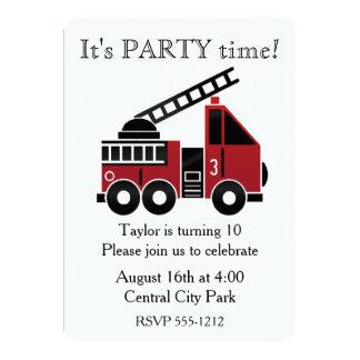 Fire trucks custom invitation