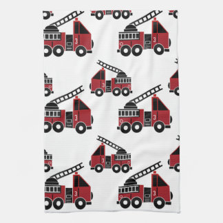 Fire trucks kitchen towel