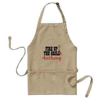 Fire Up The Grill BBQ Personalized  Beige Apron
