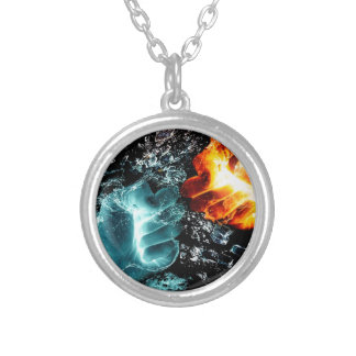 Fire Vs Water Silver Plated Necklace