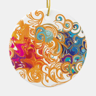 Fire &Water Chariot colourful contemporary drawing Ceramic Ornament