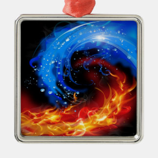 Fire & Water Cool Abstract Silver-Colored Square Ornament