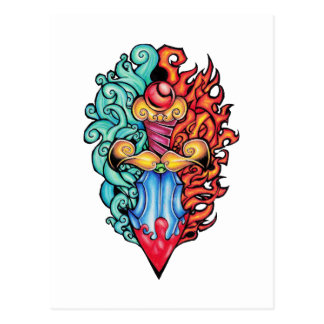 Fire & Water Dagger Tattoo Postcard