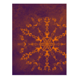 Fire wheel kaleidoscope vertical postcard