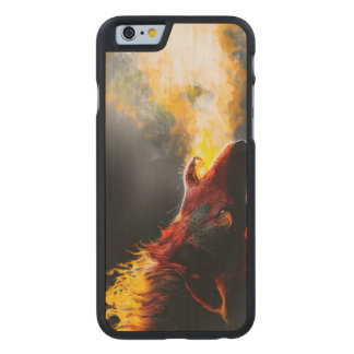 Fire wolf carved maple iPhone 6 case