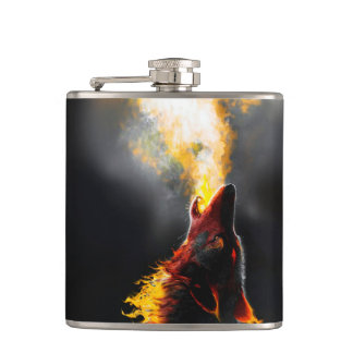 Fire wolf hip flask