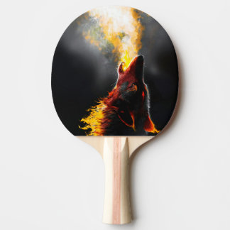 Fire wolf ping pong paddle