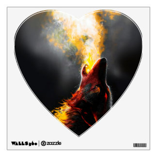 Fire wolf wall decal