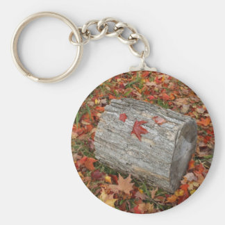 Fire  Wood in Fall Leaves Basic Round Button Keychain