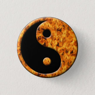 Fire Ying Yang 1 Inch Round Button