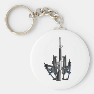 Firearm Middle Finger Basic Round Button Keychain