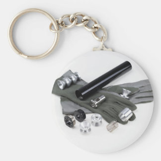 Firearm Suppressor Silencer with Military Gloves Basic Round Button Keychain