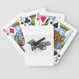 Firearm Suppressor Silencer with Military Gloves Bicycle Playing Cards