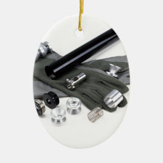 Firearm Suppressor Silencer with Military Gloves Ceramic Ornament