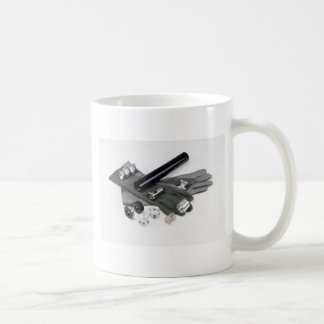 Firearm Suppressor Silencer with Military Gloves Coffee Mug