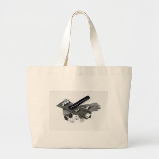 Firearm Suppressor Silencer with Military Gloves Large Tote Bag