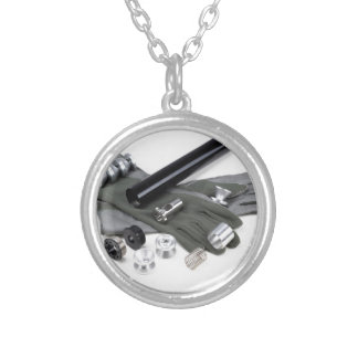 Firearm Suppressor Silencer with Military Gloves Silver Plated Necklace