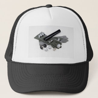Firearm Suppressor Silencer with Military Gloves Trucker Hat