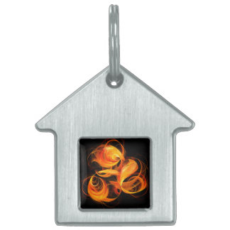 Fireball Abstract Art House Pet Name Tag
