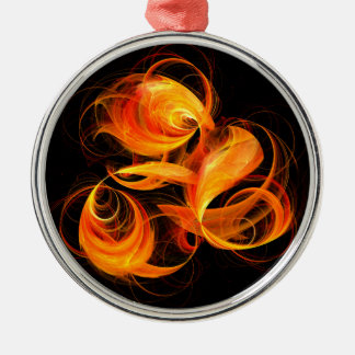 Fireball Abstract Art Round Silver-Colored Round Ornament